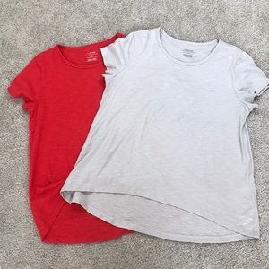 (2) Lot Chico's Ultimate Tee Red Silver HiLo Modal